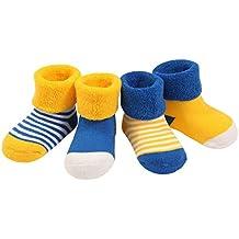 4 Pares Bebé Calcetines Algodón 0-36 Meses Respirable Calcetin Para Niños Niñas Cómodo Absorber el Sudor Suelta Plana