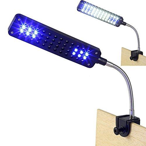 RUICK 48 LED Aquarium Licht Wasserpflanze Licht 3 Modi Weiß und Blau Flexible Clip Lampe für Aquarien Pflanzen - 48 Led-aquarium-lichter
