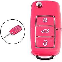 Shsyue® 3 Botones Plegable Shell de Llaves para el Mando a Distancia del Coche para Volkswagen Golf Passat Polo Bora Rosa