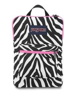 JanSport Digital SuperBreak Sleeve Backpack (Black / White Fluorescent Pink Miss Zebra) Pink Miss Zebra