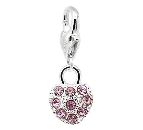 Rosa Herz mit 9Steinen versilbert, Clip auf, Charm Bead für Thomas Sabo Style Armbänder