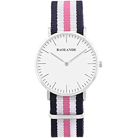 Alienwork Classic St.Mawes Reloj cuarzo elegante cuarzo moda diseño atemporal clásico Nylon plata azul U04818L-01