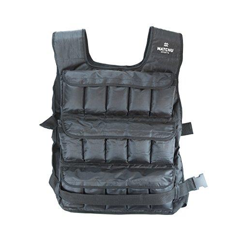 Matchu Sports Gewichtsweste verstellbar 20 kg Schwarz für Fitness und Laufen Weight Vest Trainingsweste