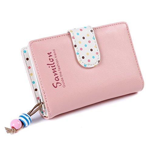 EQLEF® Elegante Frauen-Mappen Schöne Mädchen Geld Fälle Rosa Mappen mit bunten Speckle Zwei Falten Geldbeutel Short-Geldbeutel -Handtasche Typ 1