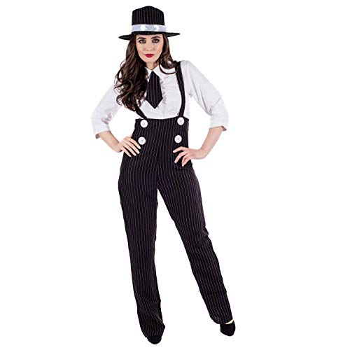 Fun Shack Damen Costume Kostüm Womens Gangster, m (Black And White Party Kostüm)