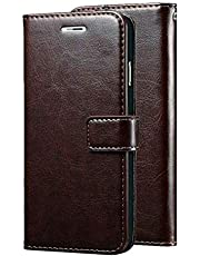 Wurzel Flip Cover for Mi A2, Luxury Look Wallet Stand Flip Cover Case for Mi A2 - Coffee Brown