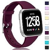 Zekapu Bracelet pour Fitbit Versa/Fitbit Versa 2/Versa Lite, Doux Silicone Étroit Svelte Remplacement Sport Bracelet pour Fitbit Versa/Fitbit Versa 2 Montre Intelligente, Femme Homme, Petit Vin Rouge