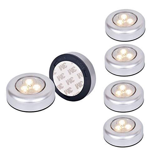 [ 6 pcs ] Tougo 3-ledes Bright LED Luz de noche alimentada por baterías,con Pulsador, Sin cable ,para Closets, Armarios, Guardarropa, Armario, Pasillo, Dormitorio, Baño - luz amarillo