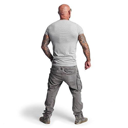 Yakuza Original Herren Basic Line V-Neck T-Shirt Hellgrau Meliert