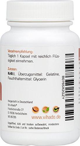 Vihado Krillöl Kapseln hochdosiert, Natürliches Krillöl aus Spanien, Omega 3 Fettsäuren EPA DHA + Astaxanthin, Normale Herzfunktion, 60 Kapseln