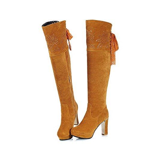 VogueZone009 Damen Hoher Absatz Eingelegt Rund Zehe Schnüren Stiefel mit Lesbie Gelb