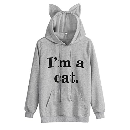 Vêtements Lenfesh Sweat à Capuche Femmes Manche Longue Chat Sweat-shirt Tops Femme Sweat à capuche à manches longues IM A CAT Gris