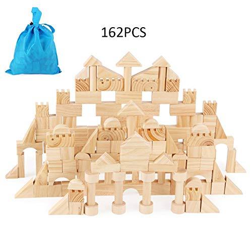 Comaie Holzbausteine   aus Holz 162Pcs für Kinder Kleinkinder Modelle bis zu Fantasie pädagogische BAU zusammengebaute Autos DIY Set perfekte Urlaub Geburtstag Geschenke Spielzeug Party Favors Kinder (In Party Supplies Autos)
