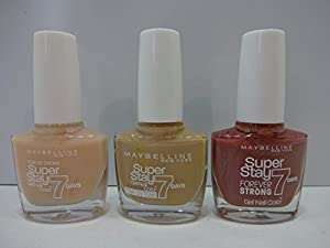 3 x Maybelline SuperStay 7day Gel Nail Polish 10ml Each ~ 875 Second Skin + 76 French Manicure + 16 Rose Attraction..