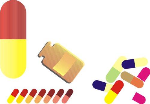 T-Shirt E256 Schönes T-Shirt mit farbigem Brustaufdruck - Logo / Grafik - minimalistisches Motiv - bunte Tabletten / Pillen / Medizin / Drogen Weiß
