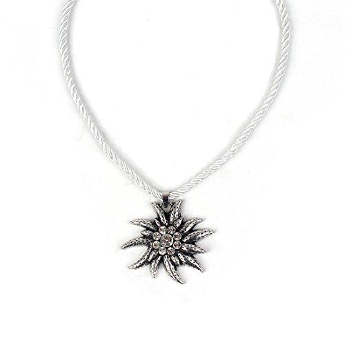 EROSPA® Trachten Hals-Kette mit silbernen Edelweiss-Anhänger Kordel Damen Schmuck Oktoberfest Dirndl Trachtenmode Wiesn weiß