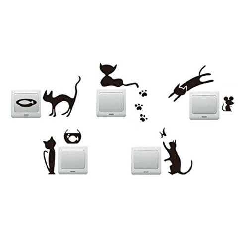 Tefamore 5pcs Pegatina de pared de vinilo Decoración encantadora linda desprendible del hogar de la etiqueta engomada de la pared del interruptor del gato (A)