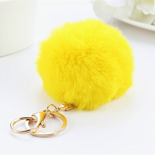 Exoh pompom ball ciondolo portachiavi borsa fascino portachiavi regalo, pelliccia ecologica, yellow, 8*3cm