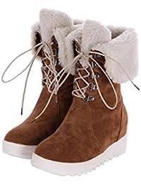 8dd0b8849c5f5 DANDANJIE Botas de Invierno para Mujer Oculto cuña talón Caliente Nieve  Botas con Cordones hasta Mediados de Becerro Botas (Negro marrón…