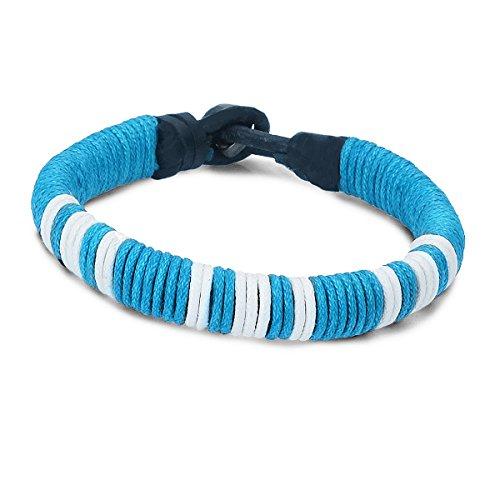 PAPAYANA A208-HB Cooles Surfer-Armband aus Leder Stoff umwickelt Beach Strand Surferarmband Hellblau -