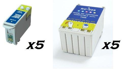 1290 Tinte (10x T007T009schwarz und Farbe kompatibel Drucker Druckerpatronen für Epson Stylus Photo 1270, 1275, 1280, 1290, 1290S, 900ersetzen. Eagle & Toucan Tinten)