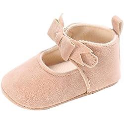 Tefamote Zapatos Botines de Suela Blanda Cuna Ocio Antideslizante Para Bebé Recién Nacido Niño niña (11, Beige)