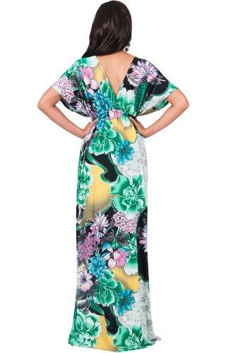 KOH KOH® Femmes Robe Longue Manches Kimono Imprimé Fleur Vert