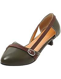 Coolcept Mujer Moda sin Cordones D'orsay Sandalias Tacon Poco Cerrado Zapatos Tamano (38 EU,Yellow)