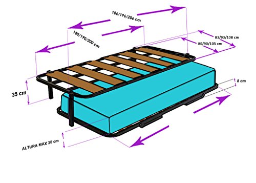 Hogar24 es cama nido con 2 somieres estructura reforzada for Estructura cama nido 105