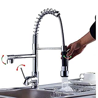 Suguword Sink Mixer Tap Kitchen Faucet Chrome Brass 360 Degree Rotation Single Holder Single Hole Pull Out Sprayer Swivel Mixer Spout Dual Sprayers Kitchen Sink Tap