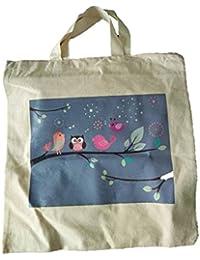 Raissasnow Reusable Digital Printed Shopping Bag {Birds On Tree }