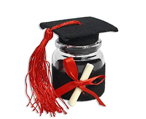 Vetrineinrete® bomboniere portaconfetti 36 pezzi per la laurea barattolo di vetro tappo di sughero a forma di tocco rosso e nero per laureati con pergamena 86281 (nero)