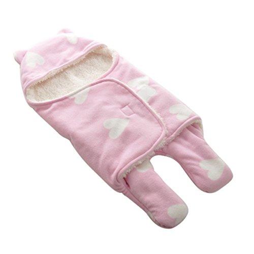 Happy cherry-sacco a pelo con cappuccio piedini sleeping bag modello cuore caldo inverno cover bambino bambina bebè neonati unisex lettino passeggino carrozzina fodera morbida-65cm*75cm-rosa