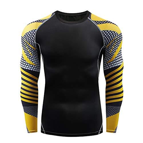 DNOQN T Shirt Lang Slim Fit Pullover Herren Herren Beiläufig Fitness Schnell Trocknende Elastische Atmungsaktive Sport Fest Langarmshirts S