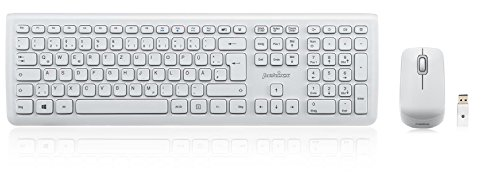 Perixx PERIDUO-703W DE, Funk Tastatur und Maus Set - 2.4G - Bis zu 10m Reichweite - Mini USB Empfänger - Klavierlack Weiss - 128 Bit AES Encryption - QWERTZ DE Layout