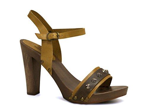 Sandali tacco legno alto in pelle di vitello cuoio - Codice modello: 100 CUOIO - Taglia: 37 IT