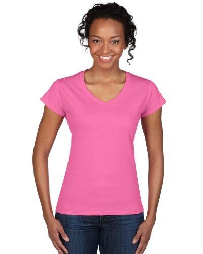 Gildan doux style T-shirt pour femme avec col en V 64V00l Rose - Azalée