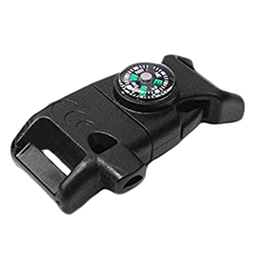 merssavo Noir Side boucle de ceinture avec Whistle Compass Pierre à feu allume-feu scaper pour bracelet paracorde