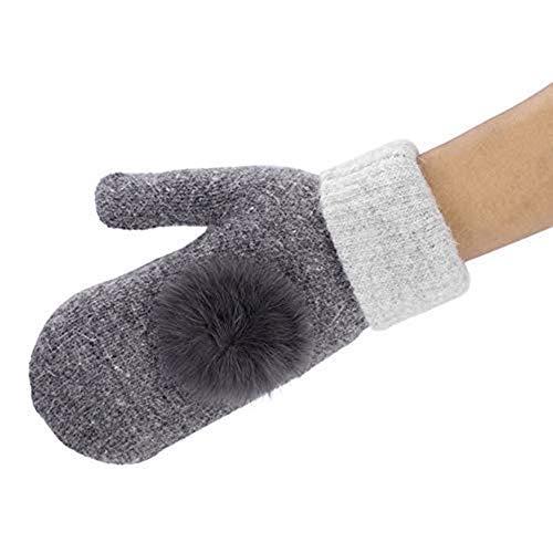 Winter Handschuhe Damen Mädchen Fäustlinge Verdickte Warme Handschuhe mit Samtschicht Kaninchenhaarball Design Winterhandschuhe Weiche Einfarbige Damenhandschuhe für Winter Drinnen und Draußen