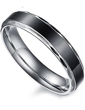 Flongo 4MM Edelstahl Band Ring Partnerring Schwarz Silber Streifen Gestreift Verlobung Engagement Verlobungsringe...