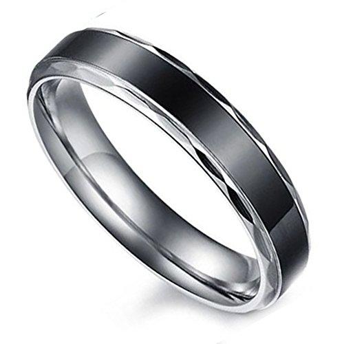 Flongo 4MM Edelstahl Band Ring Partnerring Schwarz Silber Streifen Gestreift Verlobung Engagement Verlobungsringe Hochzeit Wedding Eheringe Charm Damen 52mm