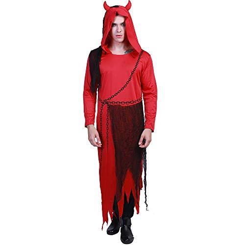 laamei Herren Halloween Kostüm Teufel Lucifer Satan Horror Cosplay Kapuze Hörner