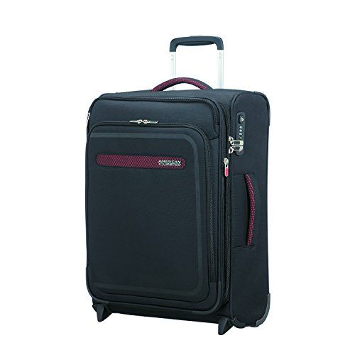 American Tourister Airbeat - Upright 55/20 Expandable Bagaglio a mano, 55 cm, 48 liters, Nero (Universe Black)
