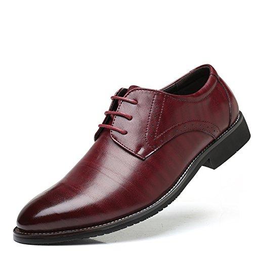 AARDIMI Herren Schnürhalbschuhe Hochzeit Schuhe Männer Spitz Oxfords Mann Kleid Uniform- & Berufsschuhe Formale Zapatos Hombre(Hersteller-Größentabelle im Bild Beachten) (41, Rot)