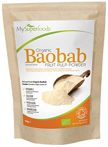 Baobab Biologico in Polvere (500gram), MySuperFoods, Ricco di Vitamina C, Calcio, Magnesio, Potassio, Certificato Biologico di Soil Association