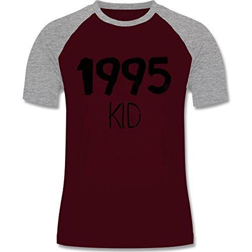 Shirtracer Geburtstag - 1995 Kid - Herren Baseball Shirt Burgundrot/Grau meliert