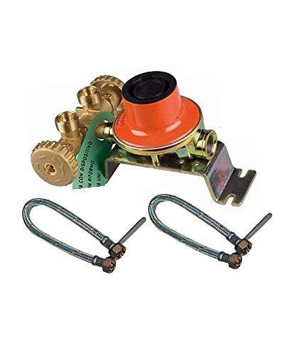 Mini Centralina Gas Con Regolatore Kg.7 Con 2 Attacchi Bombole Con Flessibili