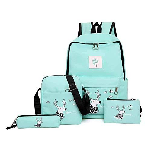 Zaini casual borsa da scuola zaino della scuola borsa 4 pezzi set borsa zainetto retro per ragazza adolescente donna collegio