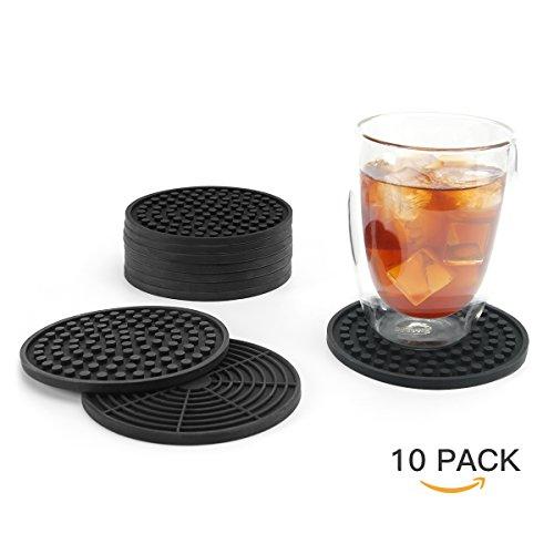 Sweese 3404 Silikon-Untersetzer (10 Stück) , Glasuntersetzer-Set für Tassen, Tisch, Bar, Küche, 11cm Durchmesser, Schwarz
