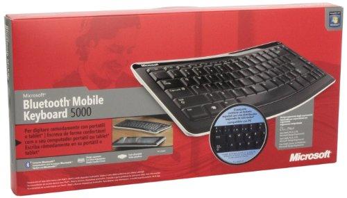 Microsoft Bluetooth Mobile Keyboard 5000 - Tastaturen für Mobilgeräte (Kabellos, Bluetooth, 2.0+EDR, Schwarz, Mini, 355 x 167 x 15,9 mm) (Microsoft Tastatur 5000)